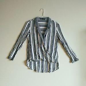 💛[3/$15] ZARA Striped Hi-Low Wrap Front Blouse
